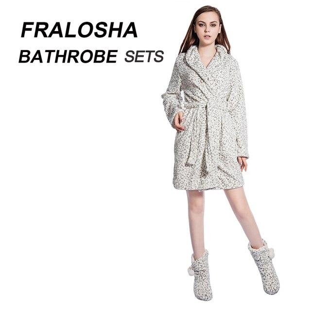 FRALOSHA Women Leopard Warm Flannel Bath Robe Bridal Bathrobe ...