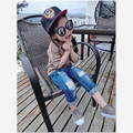 2016 New Style Kids Ripped Jeans Girls Unique Hole Trousers Fashion Designer Children Denim Pants Casual Jeans for 2~8 Years
