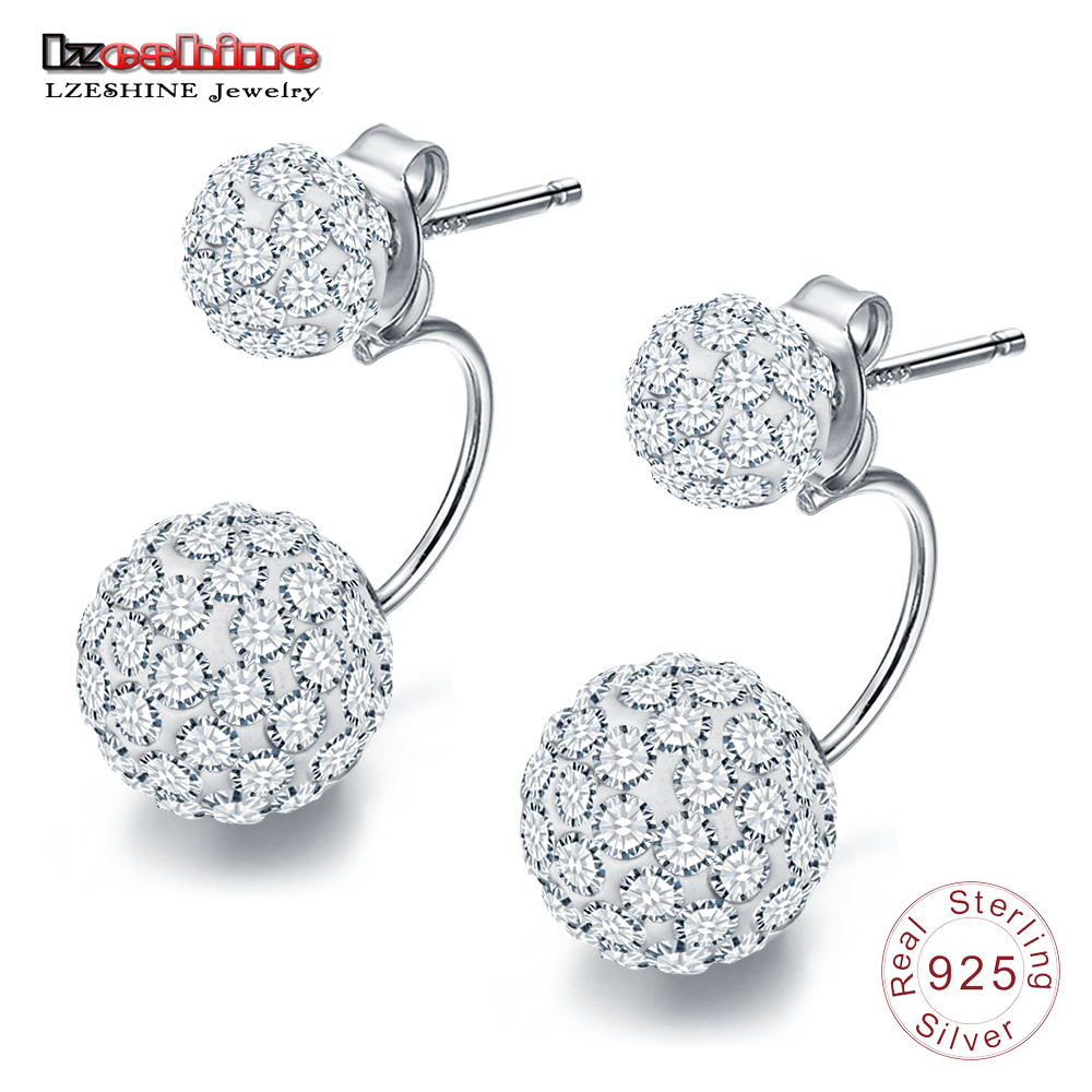 LZESHINE 100% 925 Sterling Silver Earrings Elegant Double Spherical AAA Zircon Earrings For Women Sliver Jewelry Gift