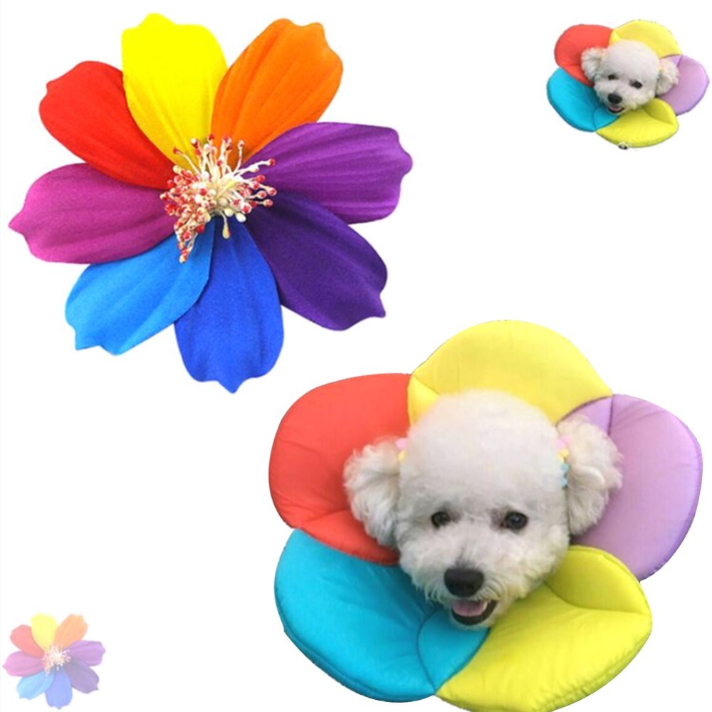 4Size Pet Protecting Collar Flower Pattern Anti-licking Protective Cover Elizabethan Collar for Dog Puppy