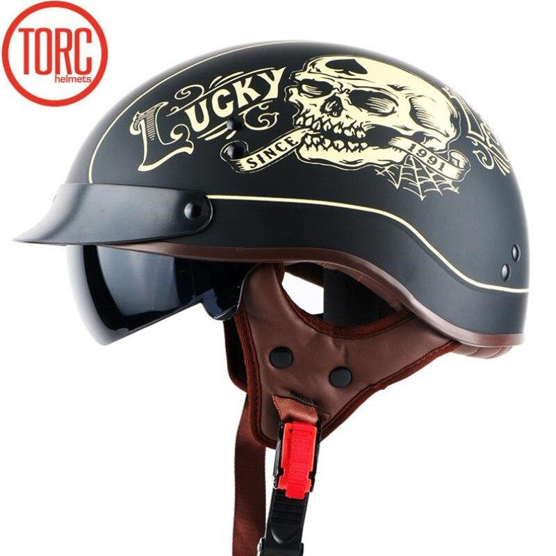 D'origine TORQUE T55 moitié du visage moto casque avec interne contrôlable lunettes de soleil de POINT approuvé lumière poids chooper casque