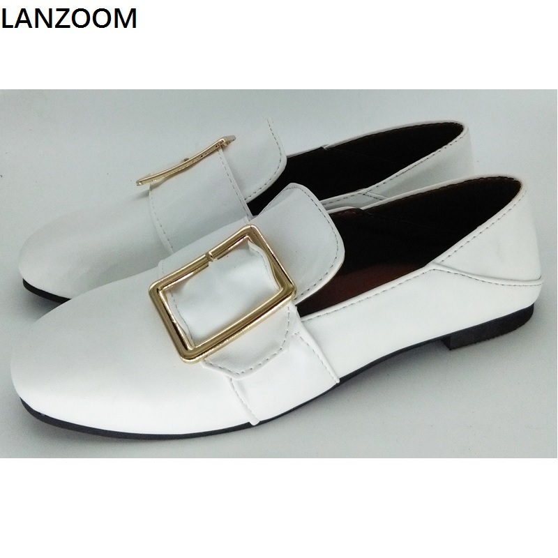 LANZOOM 2017 summer Women flat shoes big buckle design slip on flats square toe loafers two way wear style  single shoes casual square toe and slip on design flat shoes for women