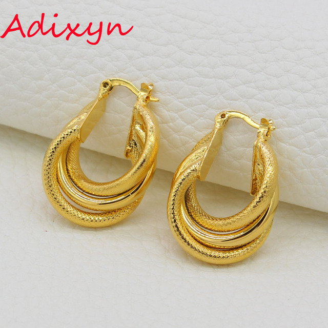 Adixyn Gold African Earrings Color Hoop For Women S Arab Jewelry Middle Eastern