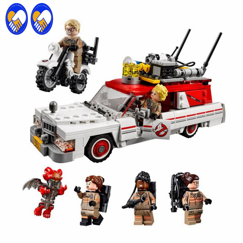 A Toy A Dream 16032 Block 586Pcs New Genuine Movie Series The Ghostbusters Ecto-1&2 Set With 75828 Building Blocks Bricks Toys l a movie