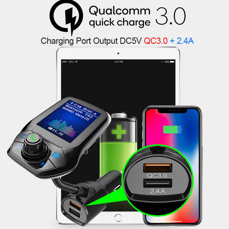 Цветной большой экран 1,8 дюймов Автомобильный mp3 U диск/TF карта музыкальный плеер Bluetooth приемник fm-передатчик QC3.0 Быстрая зарядка для автомобиля