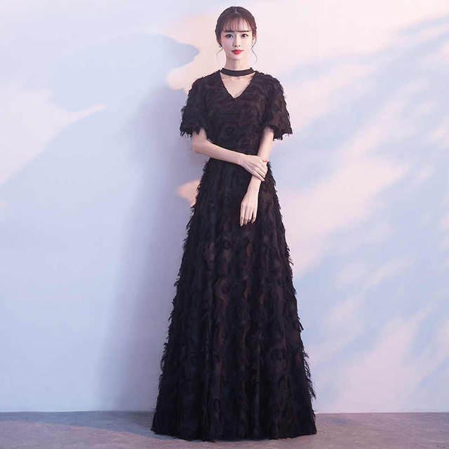 Treutoyeu Fashion Formal Dresses Elegant Evening Party Solid Dress Floor Length V Neck Pink Black White