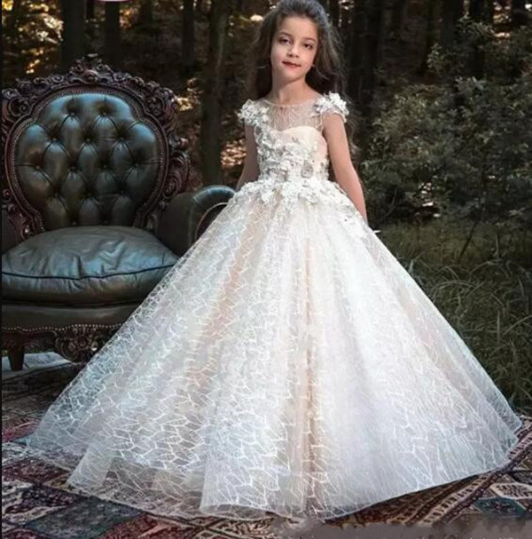 New Lace A Line Flower Girls Dresses Jewel Neck Applique Beads Tulle Party Princess Kids Communion Pageant Gown jewel neck sleeveless floral print a line belted dress