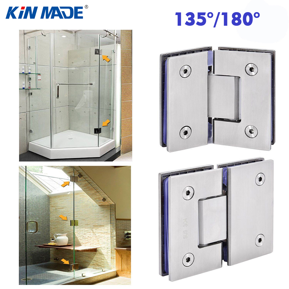 Kinmade135 180 degree stainless steel frameless glass to glass shower door hinge bracket clamp office home mirror polished in door hinges from home