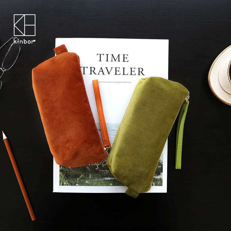 Kinbor New Velvet Pencil Case Large Capacity Portable Travel Makeup Pouch Organzier Pencil Bag Gift Stationery High Quality