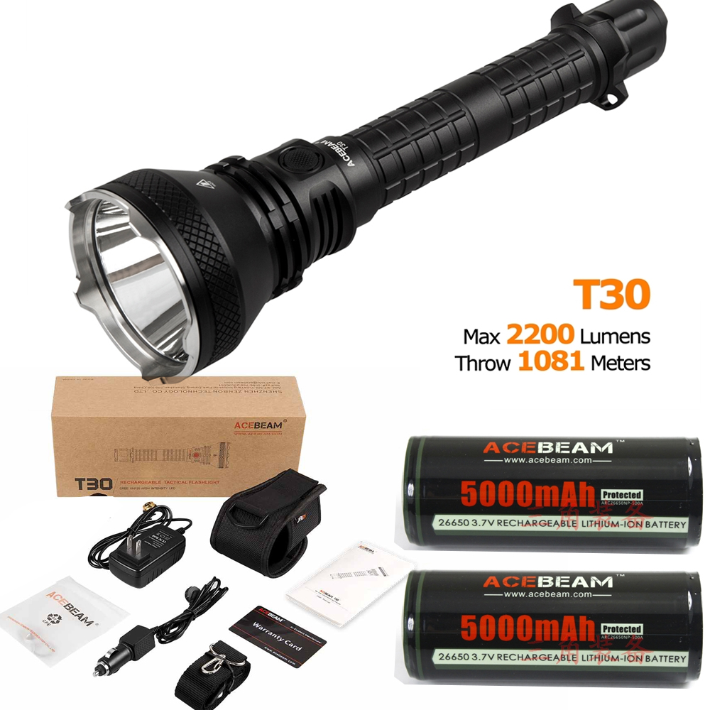 Acebeam T30 magnetic rechargeable LED Flashlight Cree XHP35 LED max.2200 beam throw 1081 meter torch + 2 * 26650 batteries nitecore mt10a 920lm cree xm l2 u2 led flashlight torch