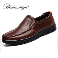 BIMUDUIYU Fashion Comfortable Breathable Soft Genuine Leather Loafers Shoes Mens Moccasin Shoes Casual Falts Men Winter Shoes