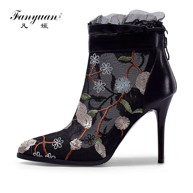 Pointu Floral De Taille Mesh Pompes Chaussures Fanyuan Black Femmes Broder 42 Ladies pink Zip Bout Bottes 34 Cheville Gamme Haut Élégant Haute BCtfqw8
