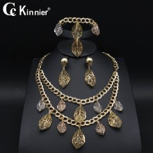 New African Dubai gold-color fashion wedding jewelry sets Three color leaves Necklace Earring Bangle Ring Bridal beads 11.10 new dubai african beads gold color wedding jewelry sets party gift fashion beautiful bridal necklace earring bridal bangle ring