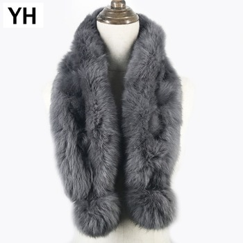 2020 New Style Real Natural Rabbit Fur Scarf Women Winter Fashion Knitted Rabbit Fur Ring Scarf Real Rabbit Fur Scarves Shawl