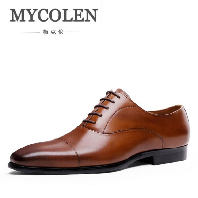 MYCOLEN Fashion 2017 Autumn Shoes British Mens Dress Comfortable Brown Oxford Men Genuine Leather Man Flats