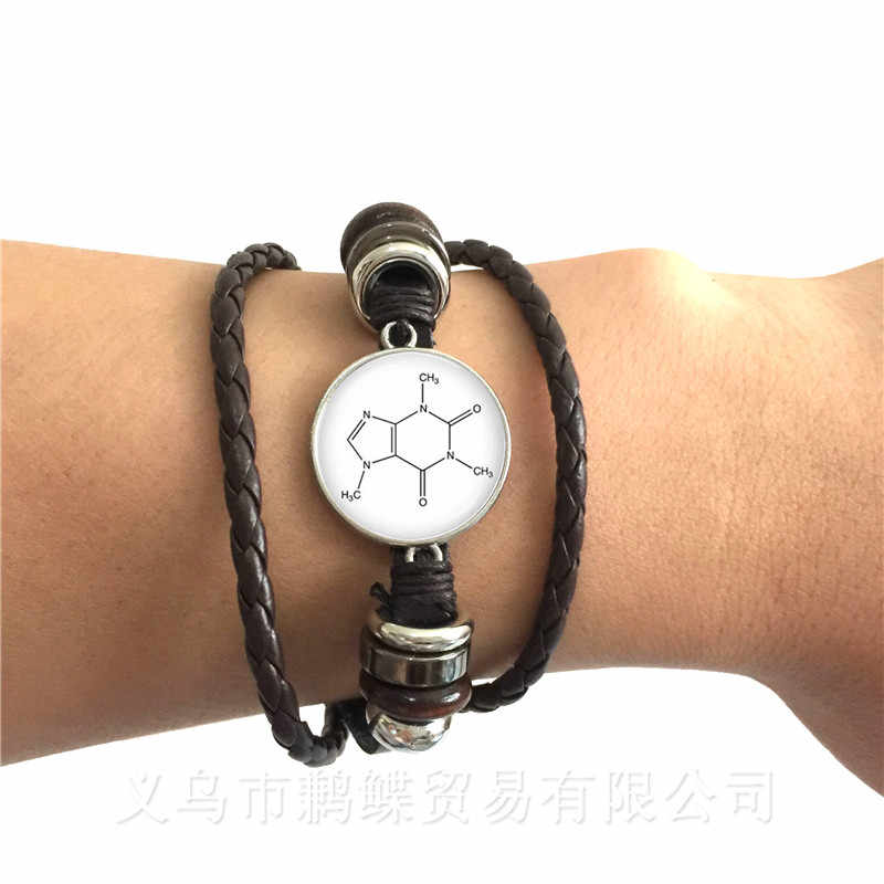 Serotonin Chemical Formula Bracelet Biology Chemistry Student Black/Brown Leather Adjustable Bangle Jewelry Creative Gifts