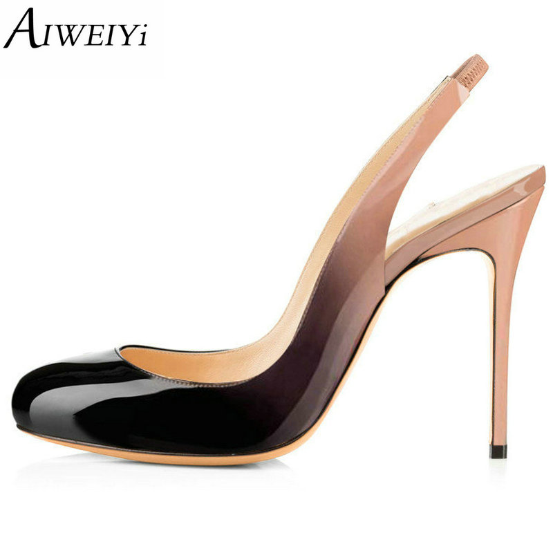 AIWEIYi Round Toe Women High Heels Pumps Leopard Print Platform Pumps Spring Slingback Patent Leather Evening Party Shoes aiweiyi women s pumps shoes 100