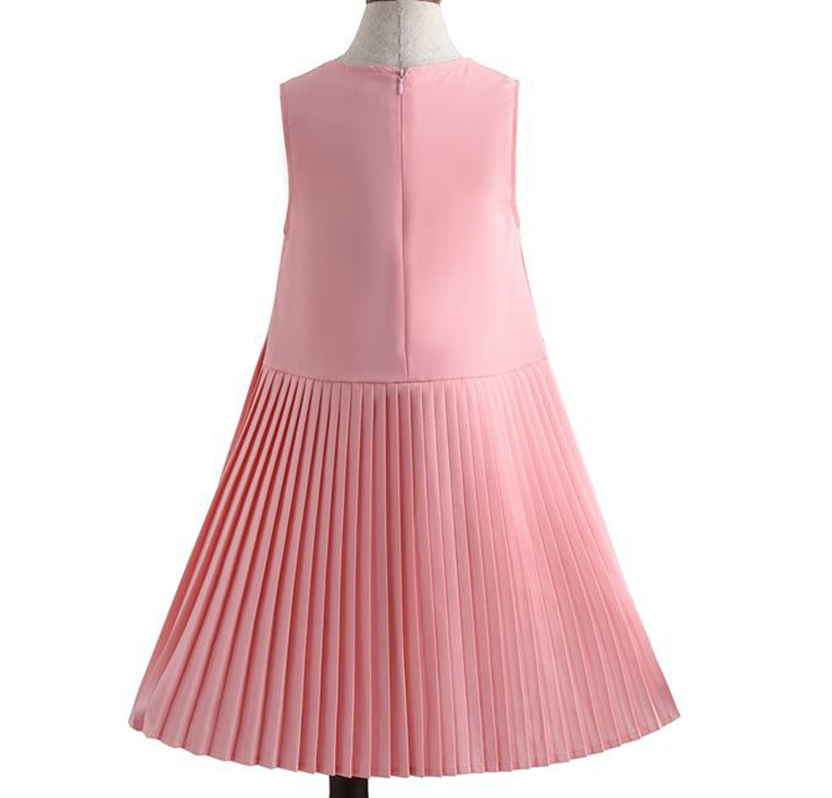 Spring Summer Autumn Girls Pleated Dresses Childrens Clothes Princess Birthday Party Stage Performance Dress Cotton Sleeveless 1
