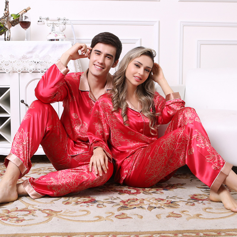 High Quality New Chinese Men's Satin Silk Pajamas Red Long Sleeve Pyjama Sets Lovers Casual Flower Sleepwear Wedding Gifts
