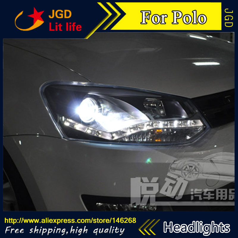 Free shipping ! Car styling LED HID Rio LED headlights Head Lamp case for VW Polo 2011-2013 Bi-Xenon Lens low beam free shipping 50w car lamps headlights 1 set h8 h9 h11 led headlights car 1set hot sale