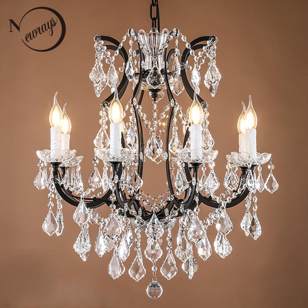 Loft Retro Vintage Big Crystal Chandeliers Lustre Modern Hanging Lamp E14 LED 110V 220V Lighting For