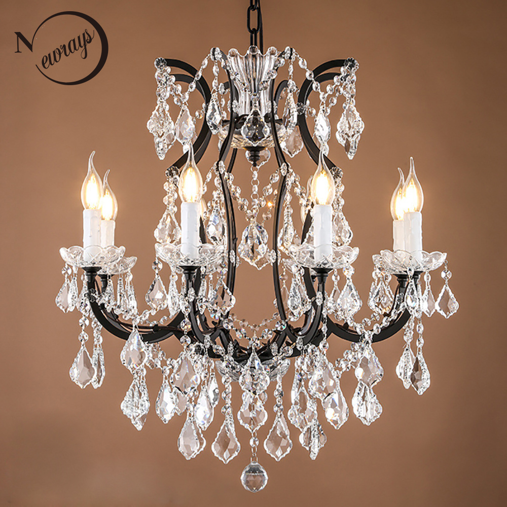 loft retro vintage big crystal chandeliers lustre modern hanging lamp e14 led 110v 220v lighting. Black Bedroom Furniture Sets. Home Design Ideas