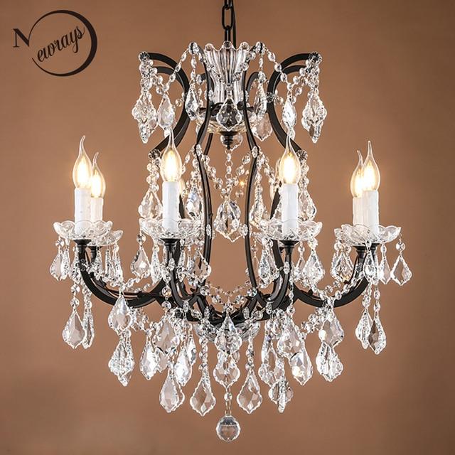 Loft Retro Vintage Big Crystal Chandeliers Lustre Modern Hanging Lamp E14 LED 110V 220V Lighting For Kitchen Living Room Bedroom
