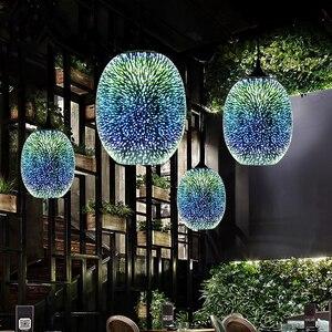 Image 3 - Đèn LED Hiện Đại Nhiều Màu Sắc Mạ 3D Kính Mặt Dây Chuyền Ánh Sáng Kính Tráng Gương Bóng Chụp Đèn Cho Nhà Hàng Cafe Thanh Ăn Đèn Bàn Phòng Khách