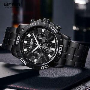 Image 4 - MEGIR montre daffaires à Quartz pour hommes, en acier inoxydable, chronographe étanche lumineux, horloge noire, 2087