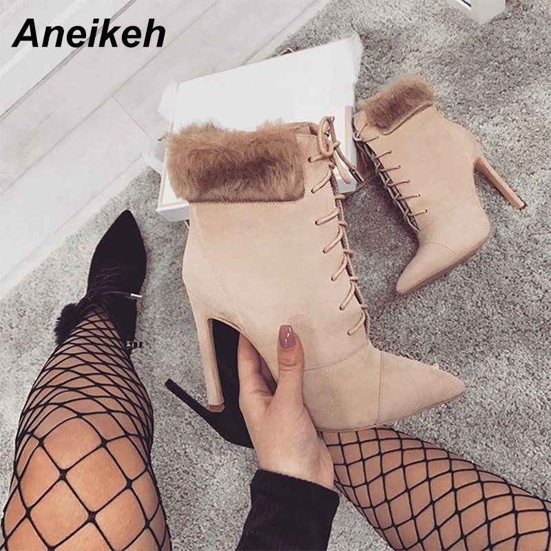 Aneikeh Women Ankle Spring/Autumn Boots Flock Pointed Toe Lace Up Thin High Heels Shoes Sexy Fashion Riding Equest Boots Black