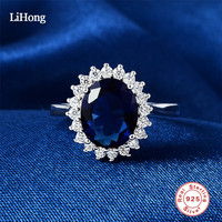 Wedding Rings Blue Gemstone 925 Sterling Silver Clear CZ Finger Rings For Women Engagement Ring Aneis