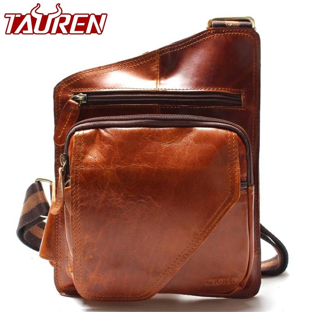 Comprar Alta calidad nuevo Vintage Casual Caballo loco de cuero genuino de  piel de vaca de los hombres bolsa de pecho pequeño bolsas de mensajero para  ... 2a55046ed7b1