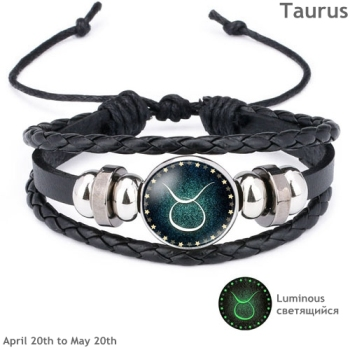 Luminous Signs of the Zodiac Decorated Leather Bracelet Bracelets Jewelry New Arrivals Women Jewelry Metal Color: Taurus