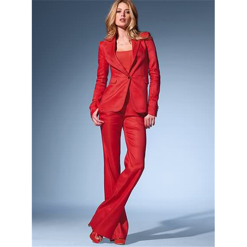 Red Womens Business Suits 2 Piece Set Blazer Formal Pant Suits For Weddings Tuxedo Female Office ...