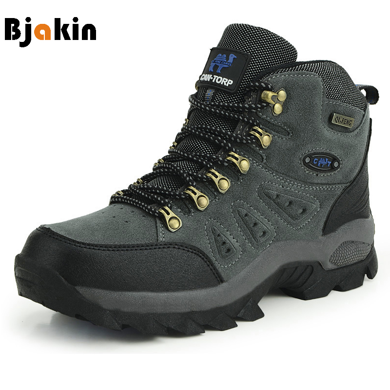 Bjakin Waterproof Mens Hiking Shoes Autumn Winter Climbing Boots High Top Trekking Hunting Shoes Trainers Rubber Unisex