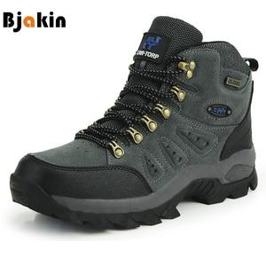 Image 1 - Bjakin 방수 남성 하이킹 신발 가을 겨울 등산 부츠 하이 탑 트레킹 사냥 신발 트레이너 고무 유니섹스