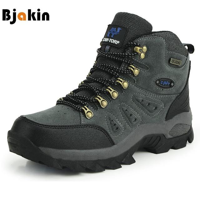 Bjakin 방수 남성 하이킹 신발 가을 겨울 등산 부츠 하이 탑 트레킹 사냥 신발 트레이너 고무 유니섹스