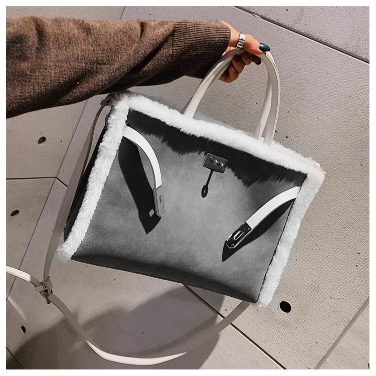 Korean handbag large capacity bucket hand bag designer big tote designer Fur women messengerc winter shopping wool no lock 85