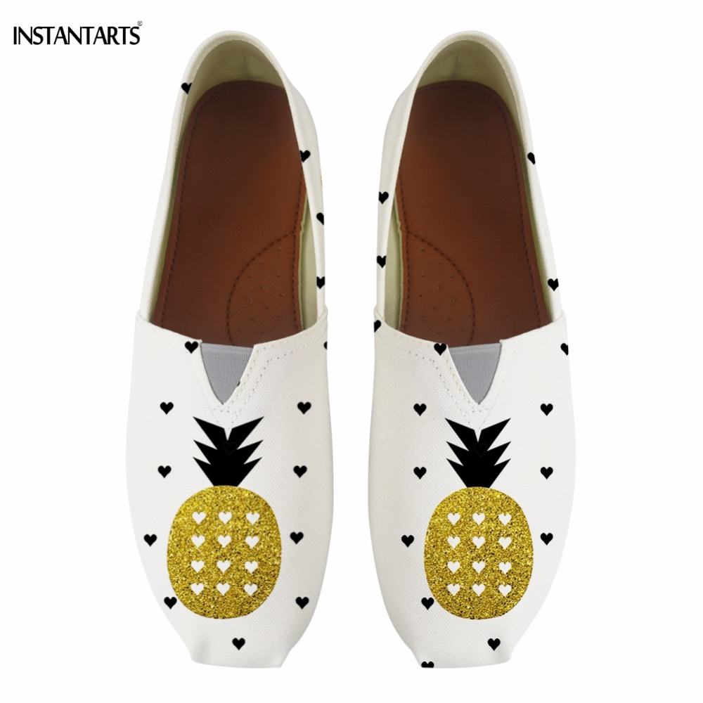 INSTANTARTS Funny Fruit Pineapple Print Summer Cotton Shoes for Teen Girl Fashion Breathable Flats Shoes Casual Walking Footwear instantarts funny cartoon nurse printed women flats shoes fashion mesh flat shoes for teen girls casual breathable sneaker shoes