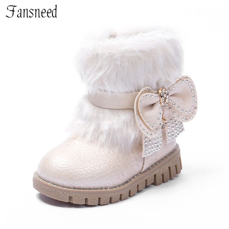 fansneed children boots 2017 new winter girls shoes rabbit mouth warm snow flat baby boots