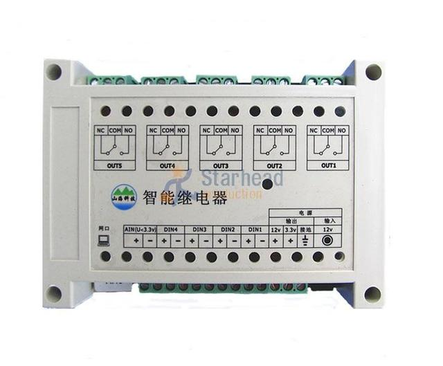 Aliexpress buy smart network 5 port relay controller 4 smart network 5 port relay controller 4 digital 1 analog input ethernet switch tcp sciox Images