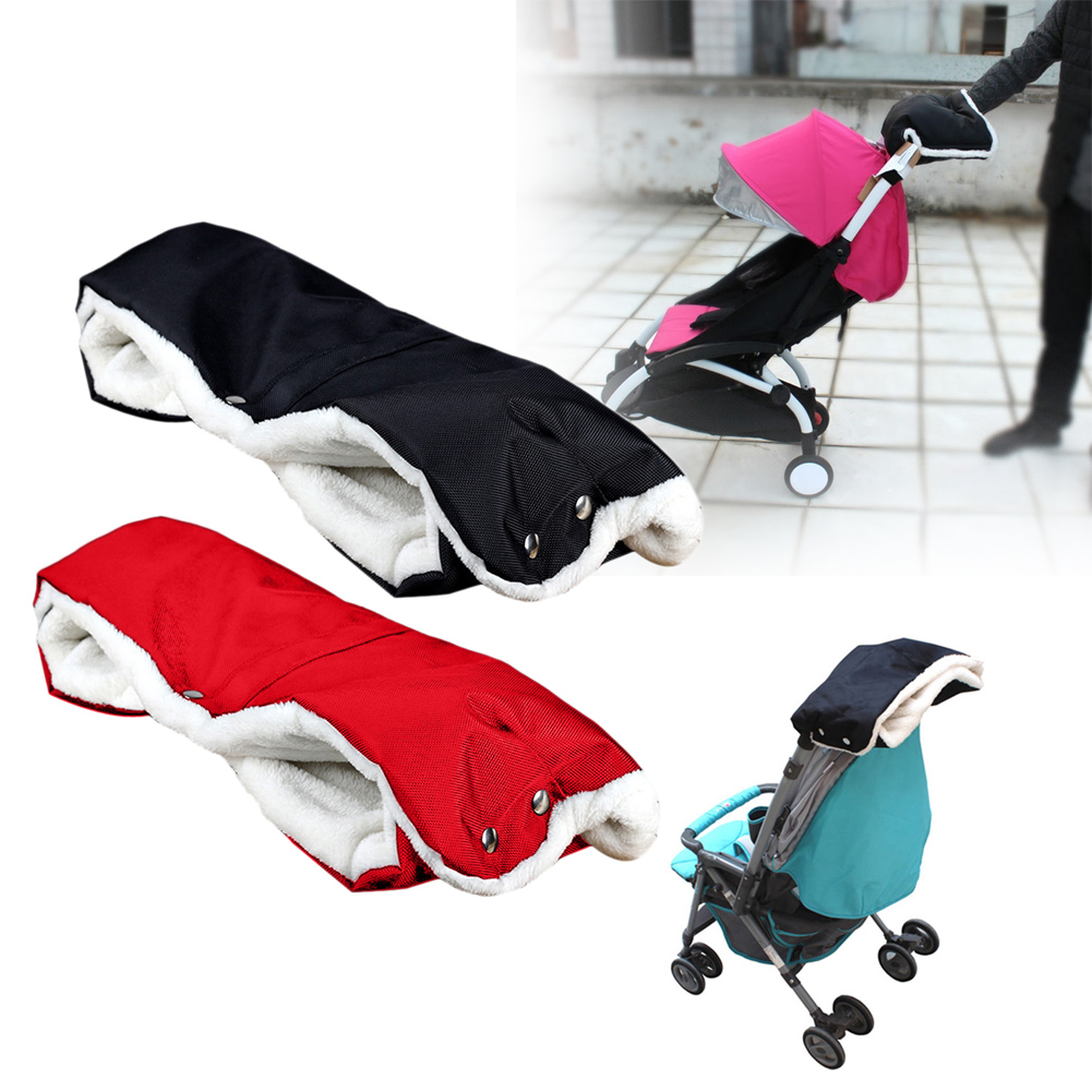 Baby Stroller Pram Accessory Winter Warmer Gloves Pushchair Hand Muff Waterproof Baby Carriage Fur Flee Gloves