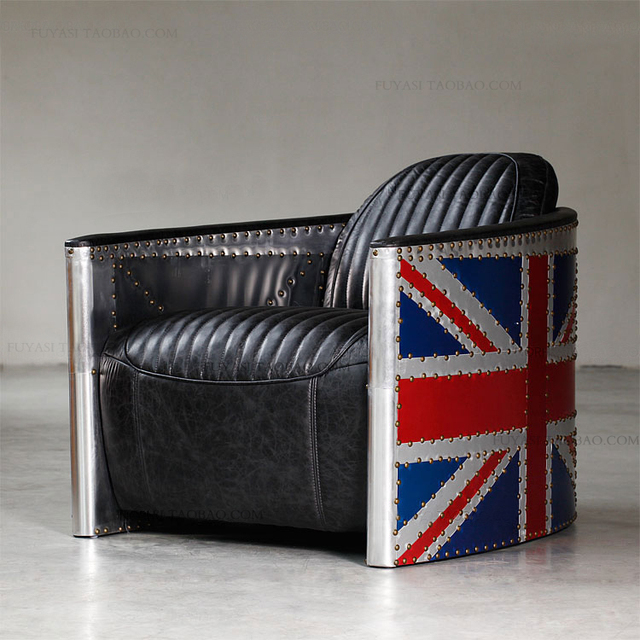 British Retro Mash American Mining Loft Rh Furniture Aviator Union Jack Flag Full Leather Sofa