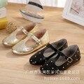 Retro cuero genuino zapatos de los niños niñas princesa de los zapatos planos alta calidad planos ocasionales niñas remache moda zapatos de cuero