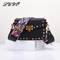 LUYO Multicolor Small Flap Rivet Crossbody Bags Brand Designer High Quality PU Leather Women Messenger Bags