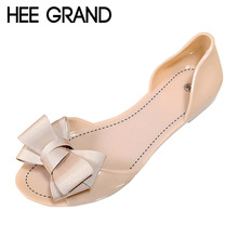 Hee grand geléia das mulheres sandálias sapatos de geléia de praia verão mulher Flip Flops Chinelos Bowtie Deslizamento Em Apartamentos Sapatos Casuais Mulheres XWZ3344(China (Mainland))