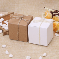 50Pcs Kraft Paper Square Shape Gift Candy Boxes Decor For Wedding Party