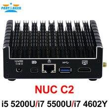 Причастником NUC core Безвентиляторный Мини-ПК I5-5200U I5 5300U I7 4602Y с 1 * Mini DP HDMI LAN