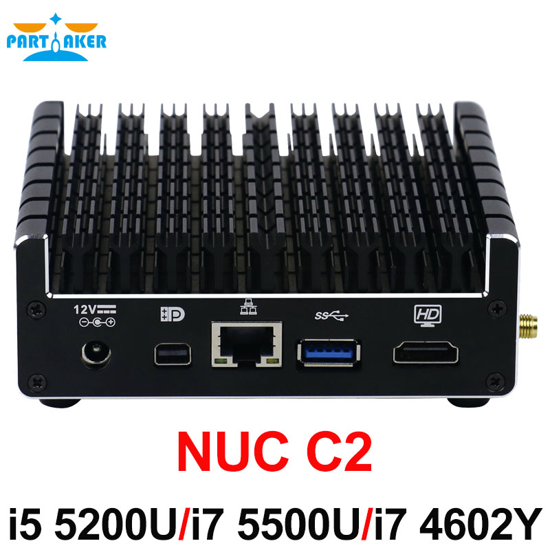 Partaker NUC Core Fanless Mini PC I5-5200U I5 5300U I7 5550U with 1*Mini DP HDMI LAN