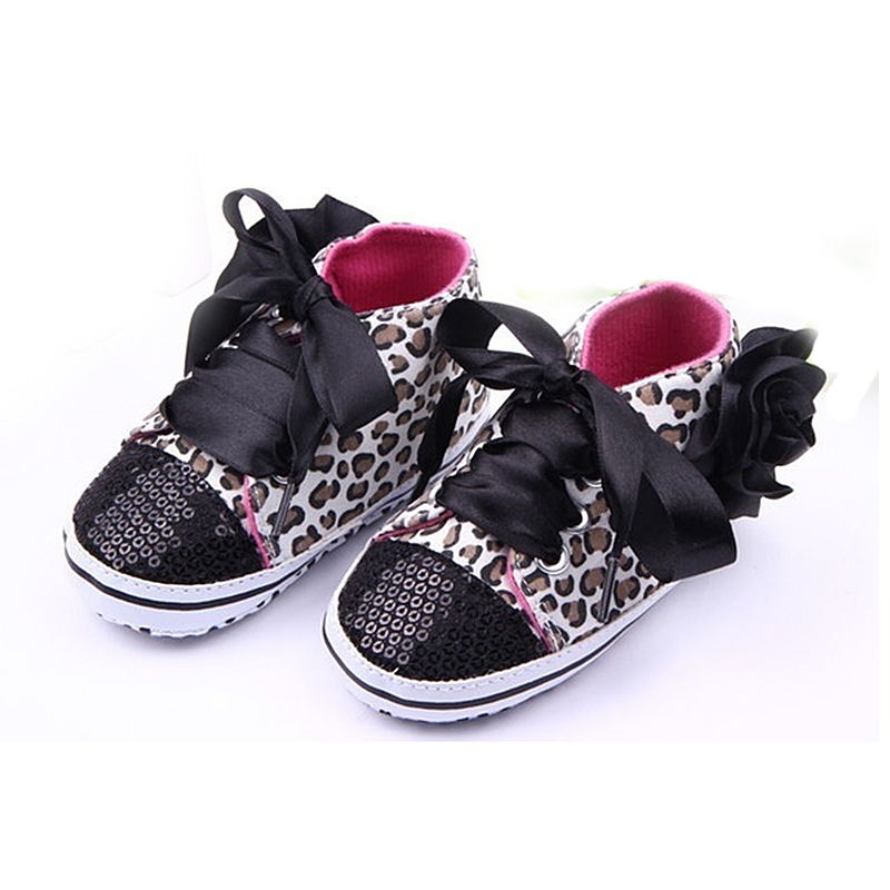 ABWE Best Sale New Infant Toddler Leopard Sequins Sneakers Baby Girls Soft Sole Crib Shoes 3-6 Months 11cm black